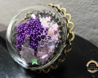 Brooch Purple Star beads and sequins