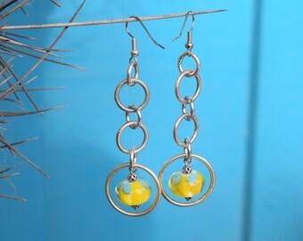 Lampworked glass bead dangle earrings
