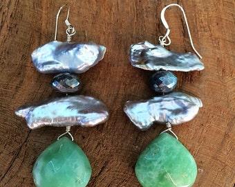 Green Chrysoprase Earrings / Freshwater Pearl Earrings / Labradorite Earrings / Bohemian Earrings / Gemstone Earrings