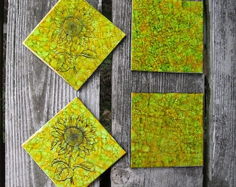 Set of Sunflower Alcohol Ink Ceramic tile Coasters