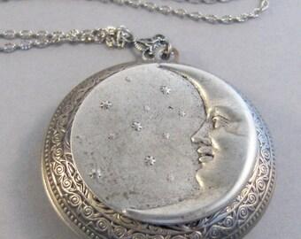 Under The Moon Too,Locket,Silver Locket,Moon,Star,Night,Goddess,Locket,Antique Locket,Antique,Moon,Love You,Moon Necklace. valleygirldesigns