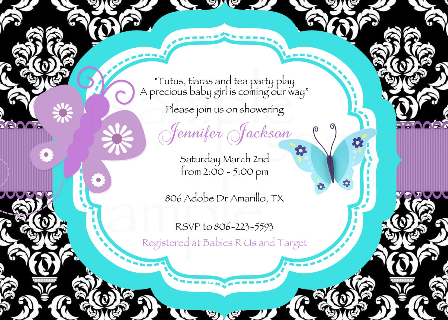 Damask Teal/Purple Butterfly Baby Shower Printable Invitation