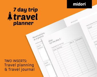 Travel planner printable + travel journal insert - Midori TN insert minimal planner - Travelers Notebook weekly refill - ready to print