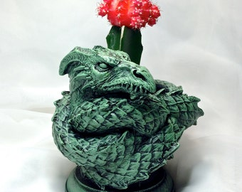 Coiled Dragon Planter, Green Finish