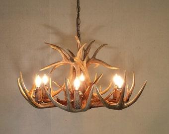 Antler chandelier etsy 26 27 dia 6 light down light real aloadofball Gallery
