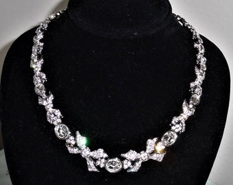 Vintage, MINT, Elegant, Swan Stamped Swarovski Clear Crystal Necklace with extention to 18""