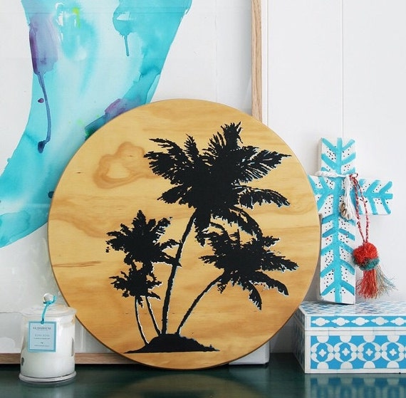Wall Art Black Palmtree Design on Hand painted Timber Porthole
