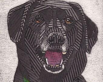 Black Labrador Retriever, Original Black and White Collograph, Black Lab, Dog Print - Sadie 3