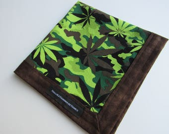 Marijuana Leaf Camo Fabric Handmade Hank EDC Hank Everyday Carry Hank Mens Handkerchief Gift for Pot Smoker Brown and Green Camo Hank