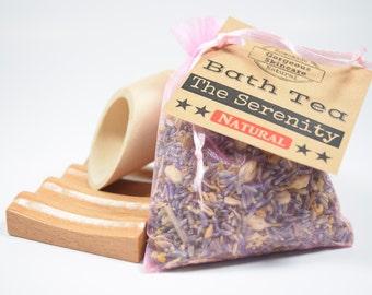 Serenity Herbal Bath Tea Bag - Tub Tea, Floral Bath Soak, Relaxation Body Soak Flowers, Lavender, Bergamot, Chamomile, Jasmine, Epsom Salt