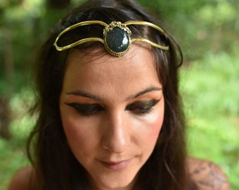SALE was 131USD - Elven Fairy Pixie Brass Tribal Goddess Moss Agate Gemstone Flower Leaf Tiara Crown Head Piece OOAK