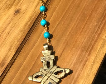 Turquoise Beaded Necklace with Brass Cross Pendant