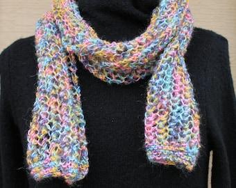 Lacy knit scarf. Knit scarf. Infinity scarf. Purple scarf. Long scarf. Pink scarf. Blue scarf. Rainbow scarf