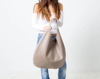 grey Leder Hobo Tasche, Beutel Tasche, große Tasche, Reise Tasche, Leder Tasche, Damen Tasche, Einkaufstasche, Alltagstasche, schlicht