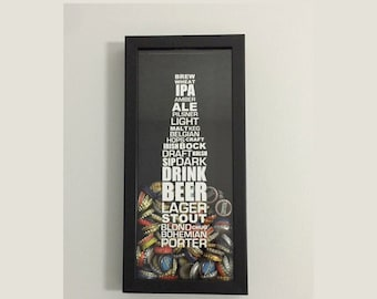 """Bottle Cap Holder Shadow Box - Styles of Beer Typography Design - Black (6"""" x 14"""") - Vinyl Decal Gifts, Home Bar Accessories"""