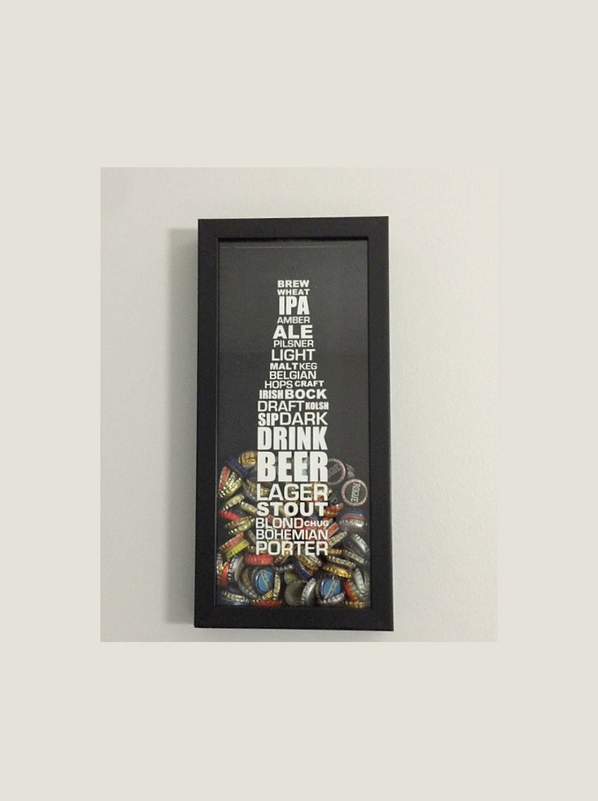Bottle Cap Holder Shadow Box - Styles of Beer Typography Design ...