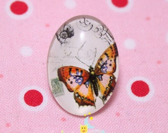 Glass cabochon oval motif Butterfly Brown 18 / 25mm