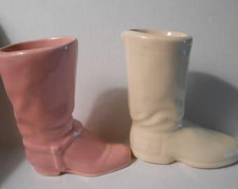 vintage ceramic cowboy boot vases pink white