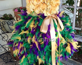 Flower top feather outfit, pageant ooc dress, mardi gras feather dress, flower tutu, pageant dress, girls dress, baby dress, girls clothing
