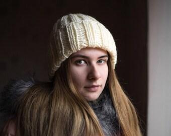 Knitted hat Slouchy woolen hat Women hat Knitting handmade accessories Gift for her Basic hat Autumn cap Winter cap