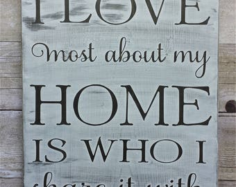 What I Love Most About My Home Is Who I Share It With / Wood Sign / Gallery Wall / Farmhouse / Home Decor / Wedding /Anniversary/Shower/Gift