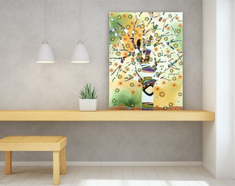Raven Tree of Life artwork on metal or canvas print