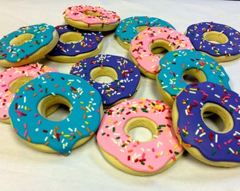 Donut Cookie Favors, Donut Cookies for Birthdays, Decorated Donut Cookie Favors for Birthdays, Donut Cookie Gift Basket, Gift Ideas