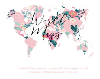 World Map - Floral Map - Commercial Use