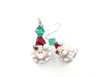Christmas Earrings, Santa Claus Lampwork Earrings, Glass Bead Earring, Red White Dangle Earrings, Holiday Lampwork Jewelry,Beadwork Earrings