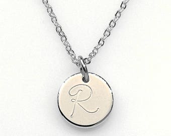 Silver plated Initial Disc Necklace, Silver plated Disc Pendant, letter Disc Necklace, Personalized Necklace,Thick Disc, 12mm disc, monogram