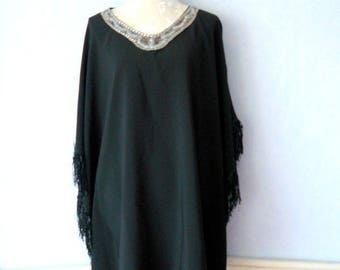 Promotion - Tunic Poncho black fringed neckline embroidery beads, women size L, XL