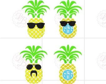 Monogram Pineapple SVG with Sunglasses SVG and JPEG