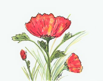 """5x7"""" Print of Red Poppies"""