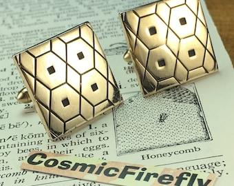 Men's Vintage Cufflinks Geometric Cufflinks Men's Cufflinks SWANK Brand Antique Cufflinks Industrial Cufflinks Bee Honeycomb Abstract