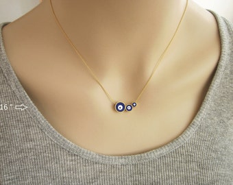 Three Sister Necklace, Triple Evil Eye Necklace, Evil Eye Jewelry, Family Necklace, Gift for Mommy, Three Child Mother Necklace / N284