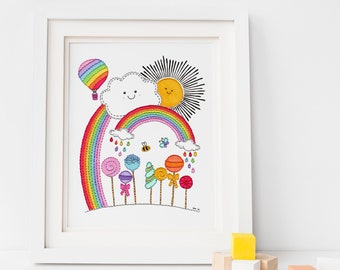Sunshine Lollipops and Rainbows Print, Sunshine Nursery Print, Rainbow Nursery Print, Kids Playroom Decor, Nursery Wall Art, New Baby Gift