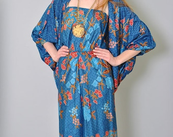 Vintage Floral Dress with Cape 70s Strapless Sun Dress with Caplet Duster XS S Boho Festival Hippie