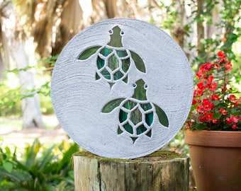 Baby Sea Turtles Hatchlings Stained Glass Stepping Stone #856