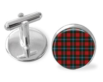 LIVINGSTONE TARTAN CUFFLINKS / Scottish Tartan Cuff Links / Tartan Jewelry / Personalized Gift  / Ancestral Jewelry / Livingstone Clan