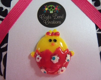Lapel Pin~Tie Tack~Brooch~Handmade~Holiday~Easter Chick in Pink Egg