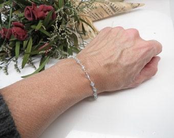 Blue Topaz Bracelet, Wire Wrapped Bracelet, December Birthstone, Blue Birthstone In Sterling Silver, 6.5-8 Inches Length, Blue Gemstone