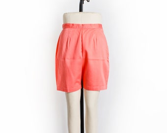 Vintage 60s Pants - High Waisted Peach  Cotton Pin Up Bermuda Shorts 1960s - Medium M