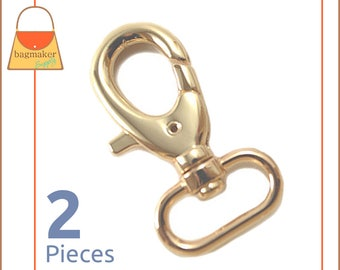 "1 Inch Swivel Snap Hooks, Gold  Finish, Lobster Claw, 2 Pieces, Handbag Purse Bag Making Hardware Supplies, 1"", SNP-AA012"