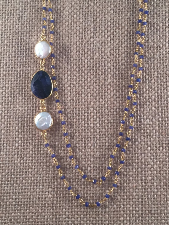 """Rosary Beaded Sapphire Necklace-Sapphire & Baroque Freashwater Pearl gemstones -22K Goldplated-44"""" long-Double Wrap-Layer- LINDOS 11"""