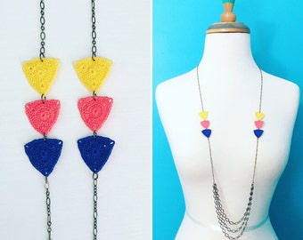 Big Bucktown Crochet Necklace in Yellow / Bright Coral / Cobalt Blue, Triangle Necklace, Gift for Her, Multicolor Geometric Necklace