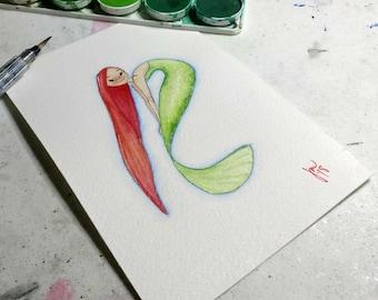 Green Mermaid Watercolor