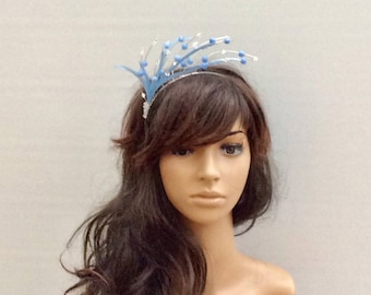 Pale Blue Bead & Swarovski Crystal Fascinator/ Headpiece