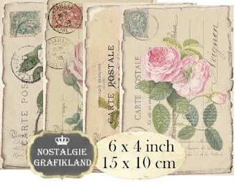 Ephemera Postcards Carte Postale French 6 x 4 inch Instant Download digital collage sheet D138