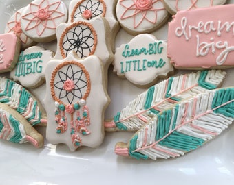 1 dzn. Dream Big Little One themed cookies. Dream catcher, feather, teepee, boho chic for baby shower or first birthday. Custom colors!