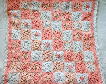 Crochet Baby Blanket- Granny Squares - Peach Pink, White-  Made To Order- Crocheted Baby Afghan